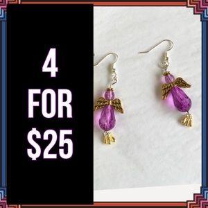 Jewelry - 4 FOR $25 🎁🎄🍾🥂 Purple Angel Hook Earrings